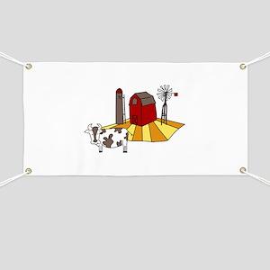 Midwest Farm Cao Cattle Barn Silo Windmill Banner