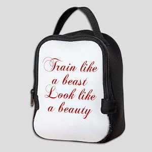 TRAIN-LIKE-A-BEAST-cho-red Neoprene Lunch Bag