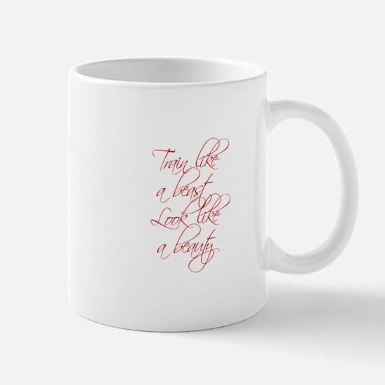 TRAIN-LIKE-A-BEAST-scr-red Mugs