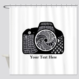 Zentangle SLR Camera Black and Whit Shower Curtain