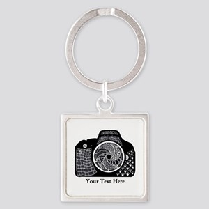 Zentangle SLR Camera Black and Whi Square Keychain