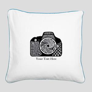 Zentangle SLR Camera Black an Square Canvas Pillow