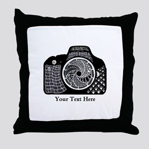 Zentangle SLR Camera Black and White Throw Pillow