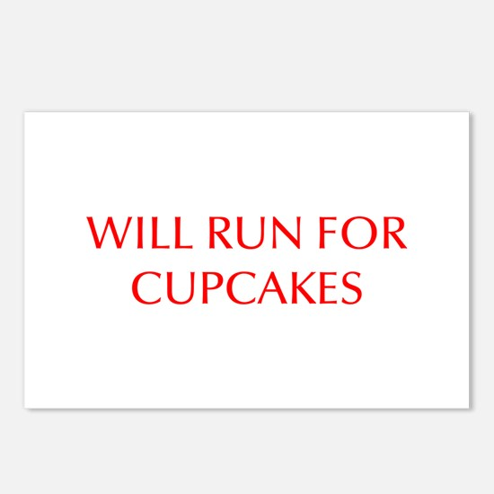 WILL-RUN-FOR-CUPCAKES-OPT-RED Postcards (Package o