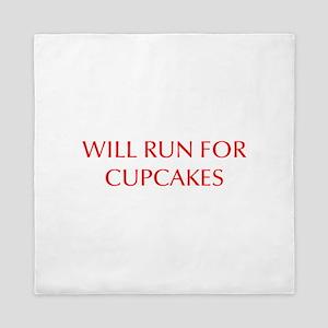 WILL-RUN-FOR-CUPCAKES-OPT-RED Queen Duvet