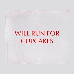 WILL-RUN-FOR-CUPCAKES-OPT-RED Throw Blanket