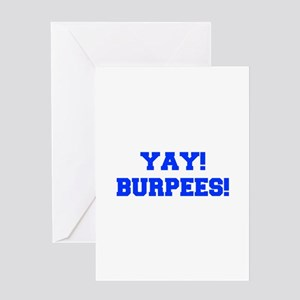 YAY-BURPEES-FRESH-BLUE Greeting Cards