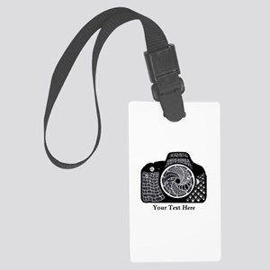 Black and White Abstract Camera Large Luggage Tag