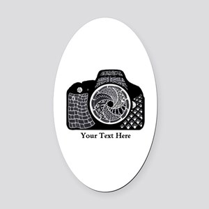 Black and White Abstract Camera Oval Car Magnet