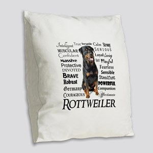 Rottie Traits Burlap Throw Pillow