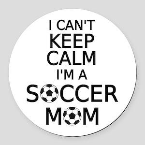 I cant keep calm, I am a soccer mom Round Car Magn