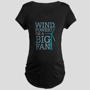 Wind Power Big Fan Maternity Dark T-Shirt