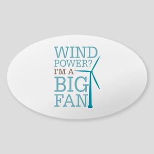 Wind Power Big Fan Sticker (Oval)
