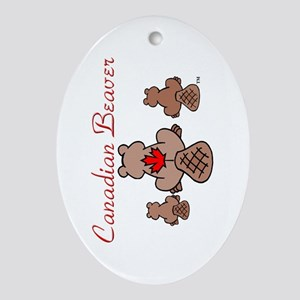 Canadian Beaver Ornament (Oval)