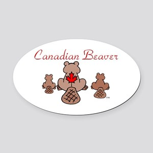 Canadian Beaver Oval Car Magnet