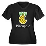 Pineapple. Women's Plus Size V-Neck Dark T-Shirt