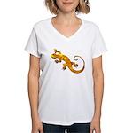 Golden Yellow Gecko Women's V-Neck T-Shirt