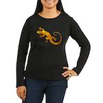 Golden Yellow Gecko Women's Long Sleeve Dark T-Shi