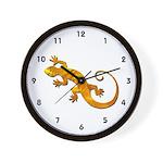 Golden Yellow Gecko Wall Clock
