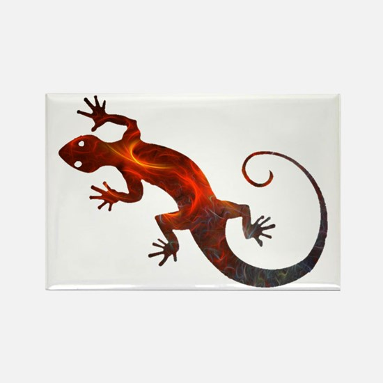 Fire Red Gecko Rectangle Magnet