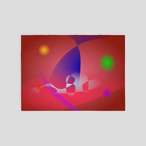 Reddish-Brown Simple Abstract Art 2 5'x7'Area Rug