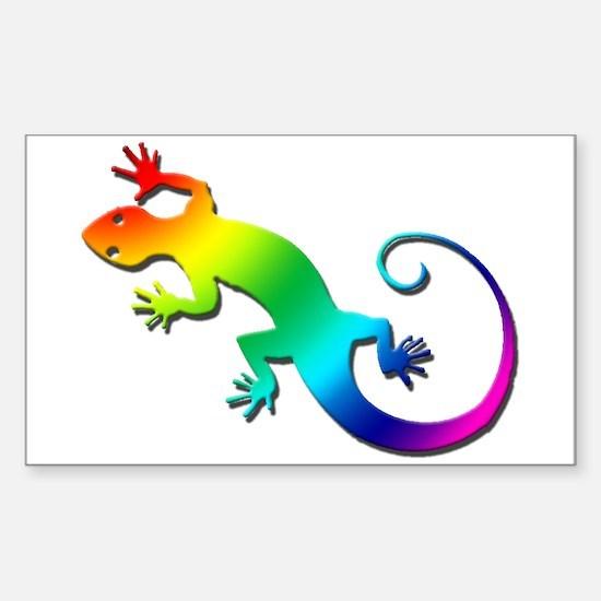 Rainbow Gecko Sticker (Rectangle)