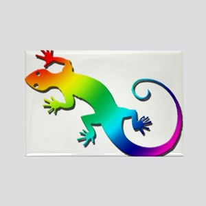 Rainbow Gecko Rectangle Magnet