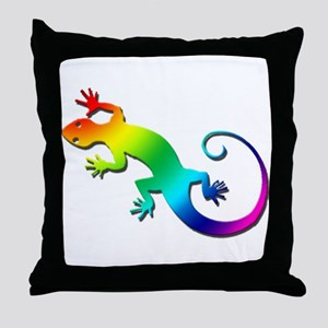 Rainbow Gecko Throw Pillow