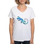 Malachite Blue Gecko Women's V-Neck T-Shirt