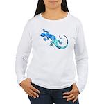 Malachite Blue Gecko Women's Long Sleeve T-Shirt