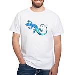 Malachite Blue Gecko White T-Shirt