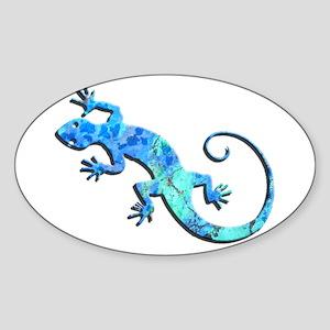 Malachite Blue Gecko Sticker (Oval)