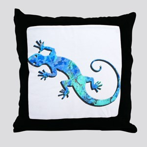 Malachite Blue Gecko Throw Pillow