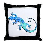 Malachite Blue Gecko Throw Pillow