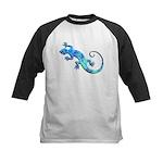Malachite Blue Gecko Kids Baseball Jersey