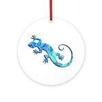 Malachite Blue Gecko Ornament (Round)