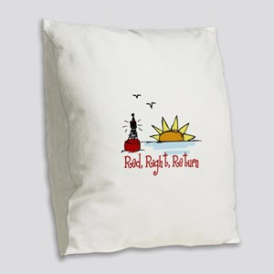 Red Right Burlap Throw Pillow
