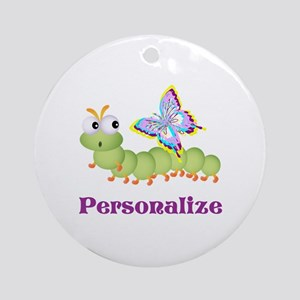 Personalize Wiggle Worm & Butterf Ornament (Round)