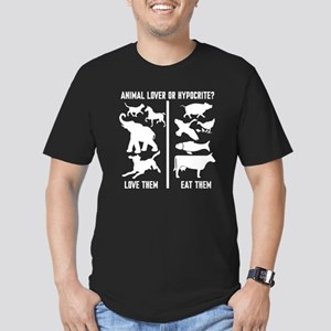 Animal Lover or Hypocr Men's Fitted T-Shirt (dark)