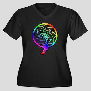 Rainbow Dreamcatcher Women's Plus Size V-Neck Dark