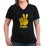 Peace It Out! Women's V-Neck Dark T-Shirt