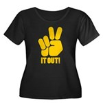 Peace It Out! Women's Plus Size Scoop Neck Dark T-