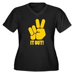Peace It Out! Women's Plus Size V-Neck Dark T-Shir