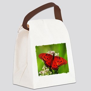 Red Butterfly on Flower with Torn Edges Canvas Lun