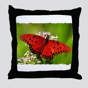 Red Butterfly on Flower with Torn Edges Throw Pill