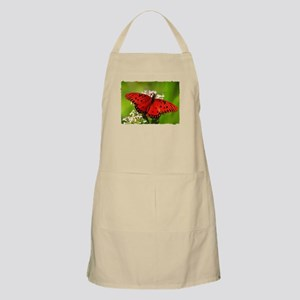 Red Butterfly on Flower with Torn Edges Apron
