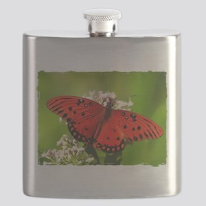 Red Butterfly on Flower with Torn Edges Flask