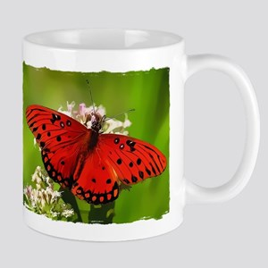 Red Butterfly on Flower with Torn Edges Mugs
