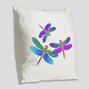 Dive Bombing Dragonflies Burlap Throw Pillow