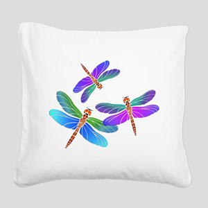 Dive Bombing Dragonflies Square Canvas Pillow
